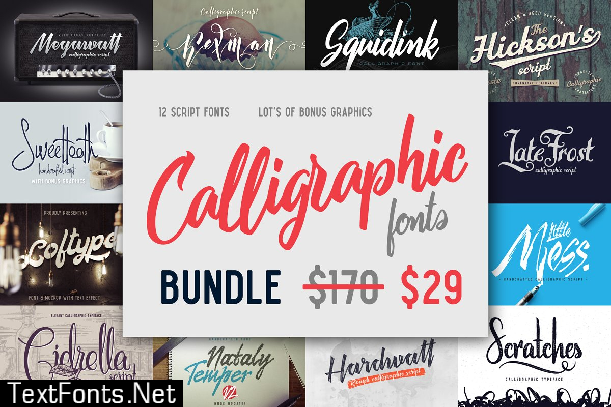 Calligraphic fonts Bundle 4321524