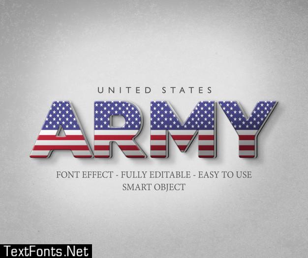 3d font effect america usa flag