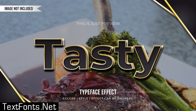 Black text style with golden outline and realistic effect