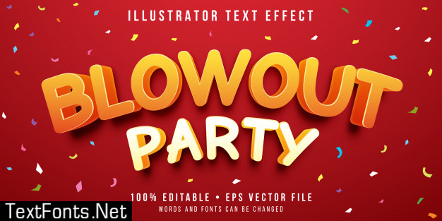 Editable text effect - party celebration style