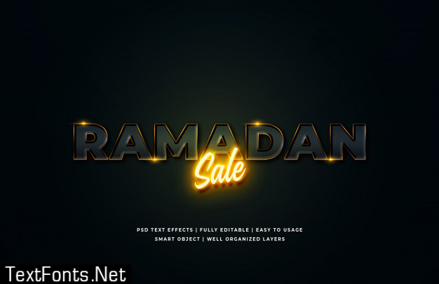 Ramadan sale 3d text style effect