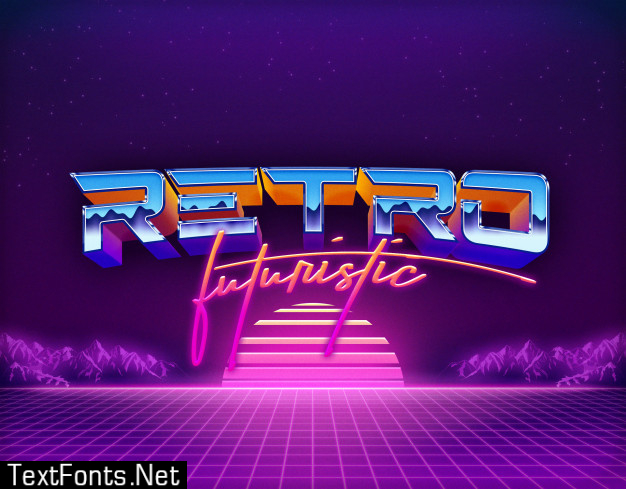 Retro futuristic text effects template psd layer style