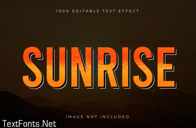 Sunrise editable text effect