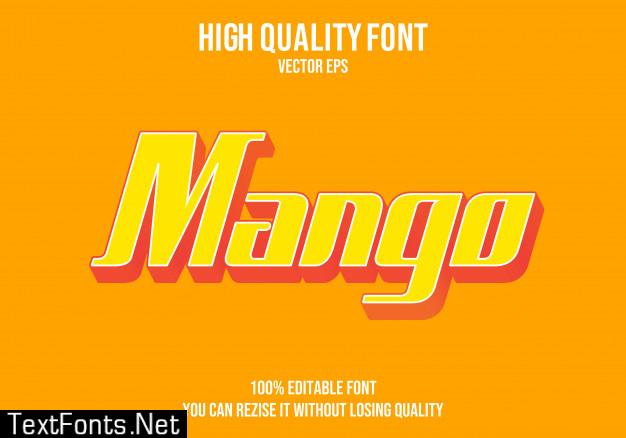 Mango editable text font effect