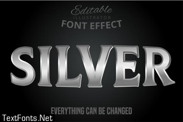 Metallic silver text effect, shiny silver alphabet style