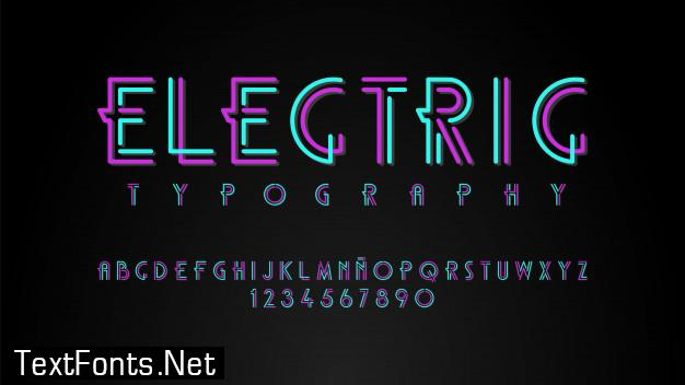 Modern typography with neon lights effect