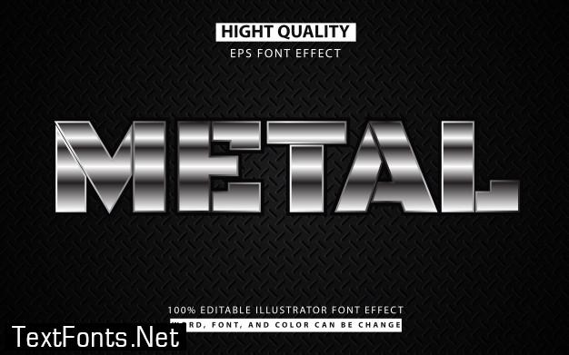 Silver metal text effect style