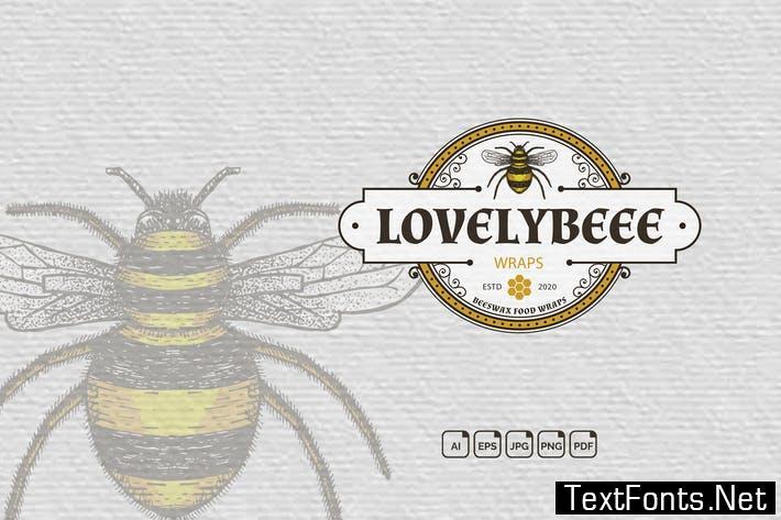 Bee Vintage Handdrawn Logo QFS3JCW