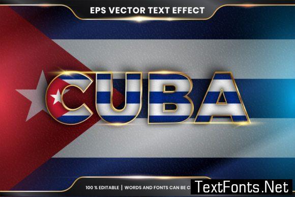 Editable Text Effect - Cuba with Flag