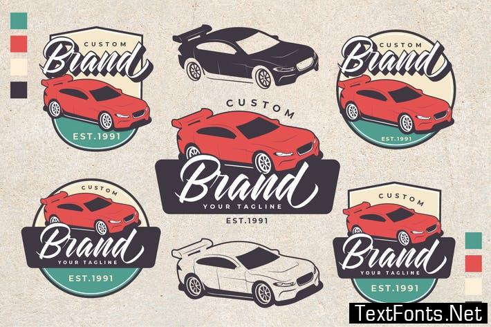 Racing Car Theme Vintage Logo