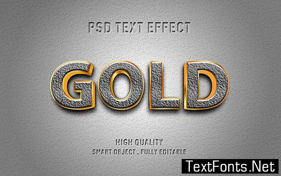Text Effect - 3D Gold and Stone