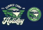 Van Holiday Retro Logo Template SX37NTN