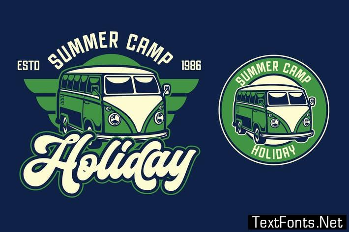 Van Holiday Retro Logo Template SX37NTN