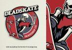 vintage badge logo of skull skateboard skateshop