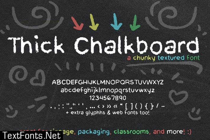 Thick Chalkboard Font (Handwriting Chalk Font)