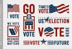 USA Election Motivation Typography And Logos Set