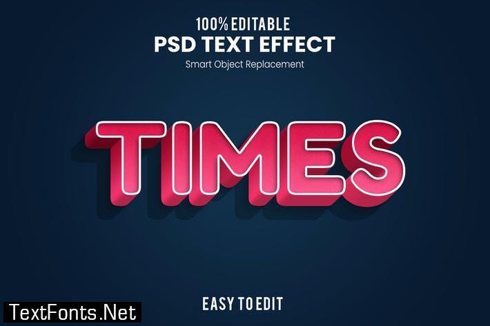 Times - Playful 3D PSD Text Effect