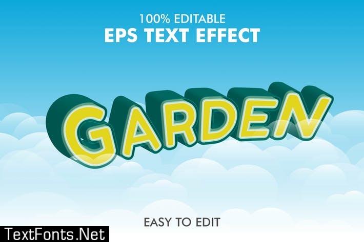 Garden - Editable 3D Text Effect EPS
