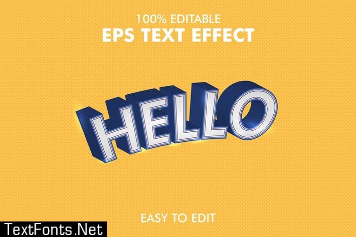 Hello - Editable 3D Text Effect EPS