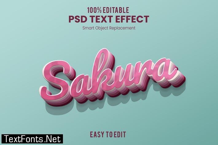 Sakura-3D Text Effect