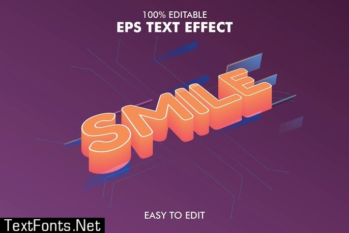 Smile - Editable 3D Text Effect EPS