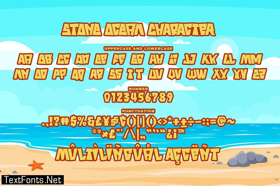 Stone Ocean a Bouncy Square Font