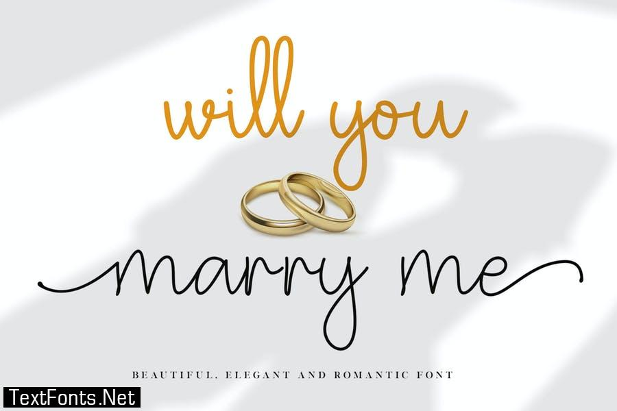 Will You Marry Me Wedding Font