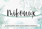 Mikonux a Fun Script with Doodles Font