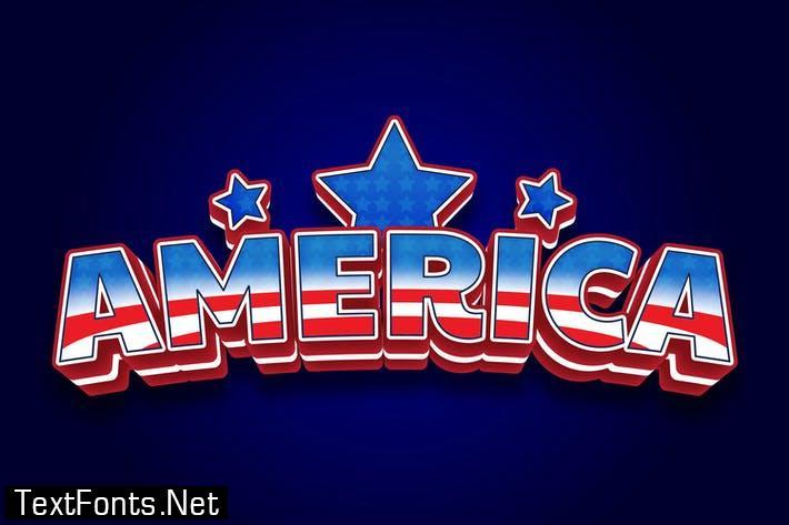 America 3d text effect