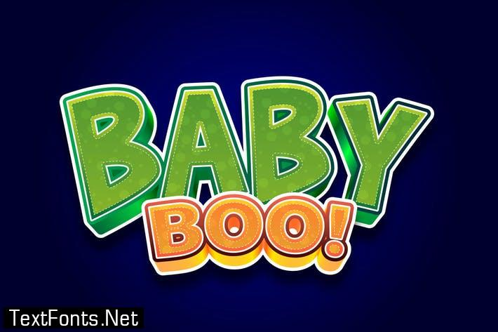 Baby Boo 3d Text Effect