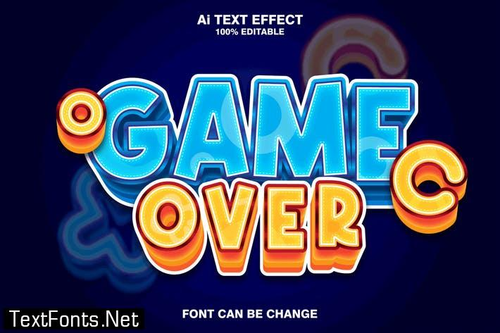 game over 3d text effect