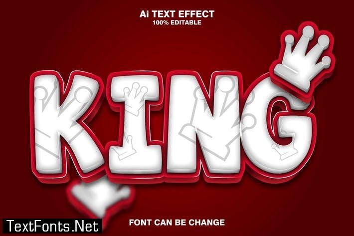 king 3d text effect