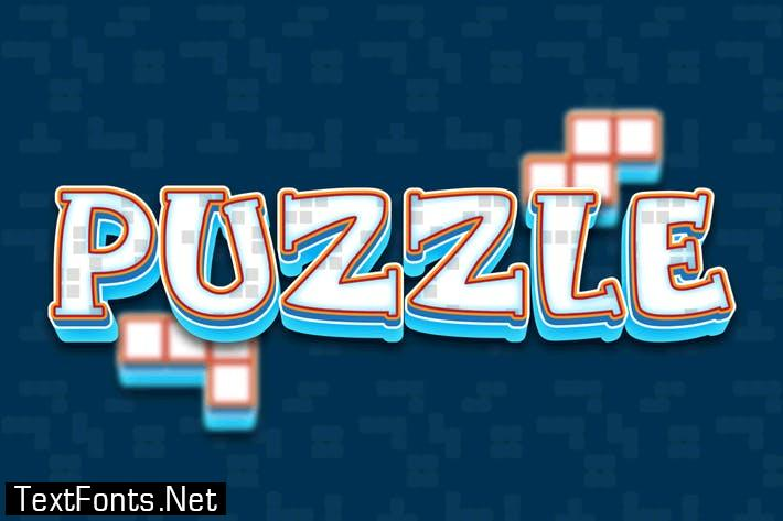 puzzle 3d text effect